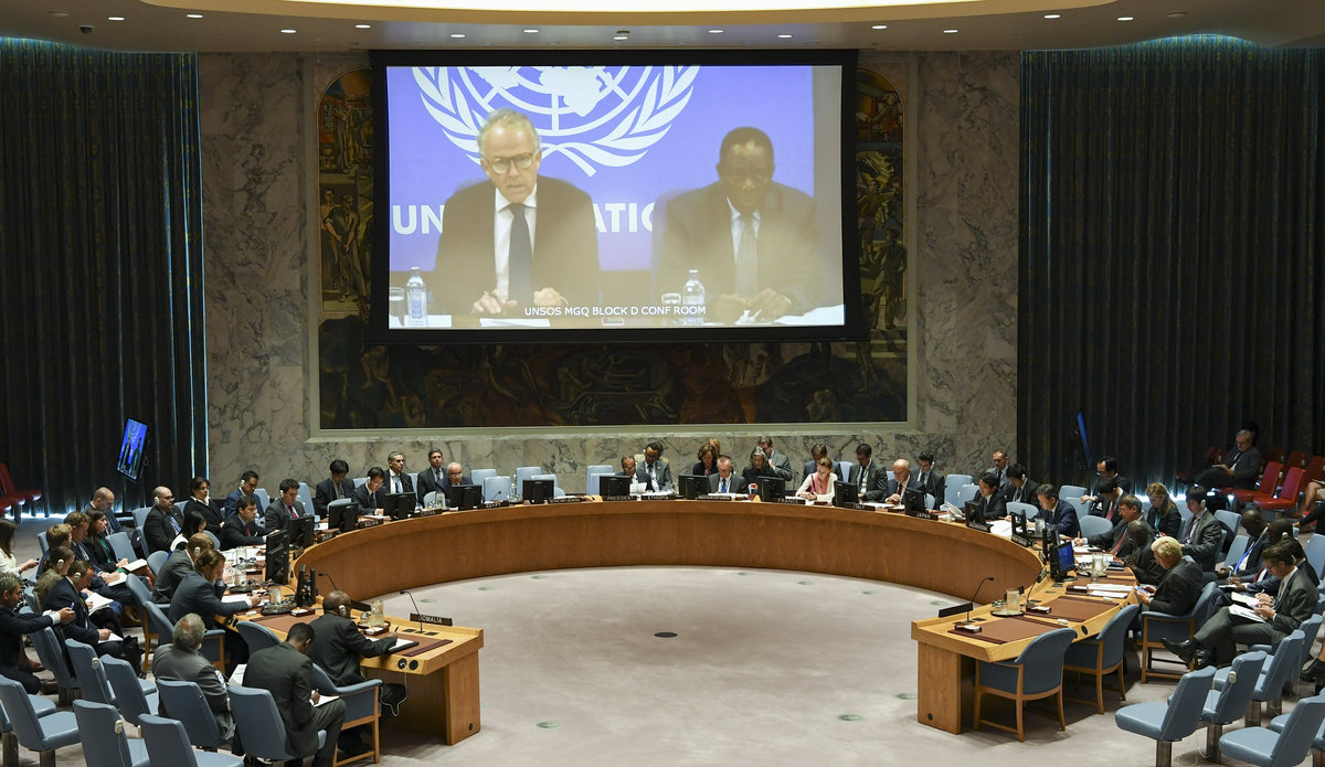 Michael Keating, the Special Representative of the UN Secretary-General for Somalia briefs the UN Security Council through video link from Mogadishu, on 13 September 2017.  UN Photo/Eskinder Debebe