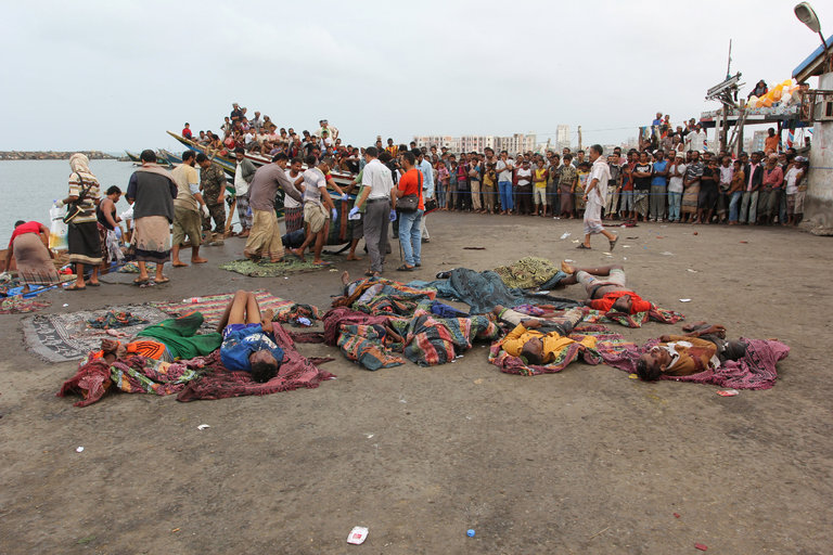 Some of the Somali migrants who died, in the Red Sea port of Al Hudaydah, Yemen, on Friday. Credit Abduljabbar Zeyad/Reuters