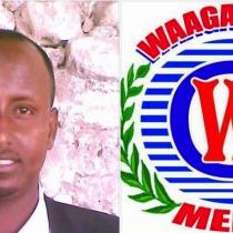 Photo: Late Waagacusub Editor in Chief Abdullahi Ali Hussein and Logo